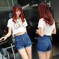 Высокая Талия Шорты Женщин Джинсовые Шорты Femme Мода однобортный Плюс Размер Тонкий Джинсовые Шорты Женщина