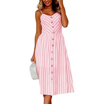 Bohemia Button Striped Print Cotton Linen Casual Summer Dress Sexy Spaghetti Strap V-neck Off Shoulder Women Midi Vestidos