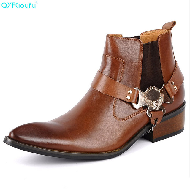 QYFCIOUFU Fashion Chelsea Boots Men Genuine Leather High Quality Cow Leather Ankle Boots Buckle Black Brown Mens Cowboy Boots