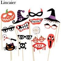 Lincaier Halloween Decoration Horror 16 Pieces Photo Booth Props Pumpkin Mask For Kids Men Witch Bats
