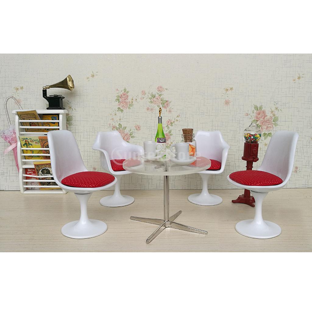 1 12 Dollhouse Miniature White Tulip Chair Swivel Chair