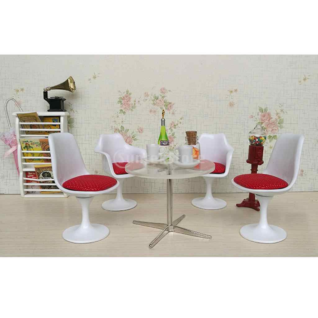 1/12 Dollhouse Miniature White Tulip Chair Swivel Chair Turning Chair Round Table Dining/Living Room Accessories
