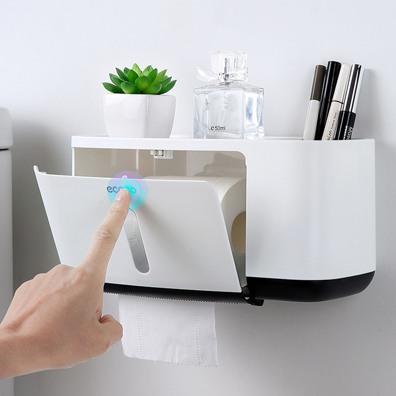 Toilet Paper Holder Creative With Two Storage Bath Kitchen Toilet Paper Dispenser Plastic Wall Waterproof Toilet Roll Holder