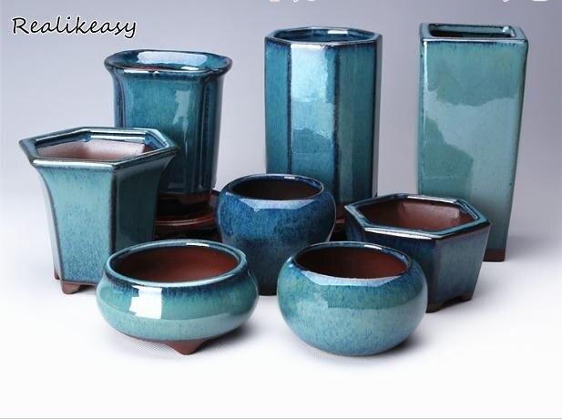 Succulent Plants Flower Pot Simple Creative Ceramic Flower Pots Purple Sand Breathable Office Balcony Decor Planter Pots ZM21