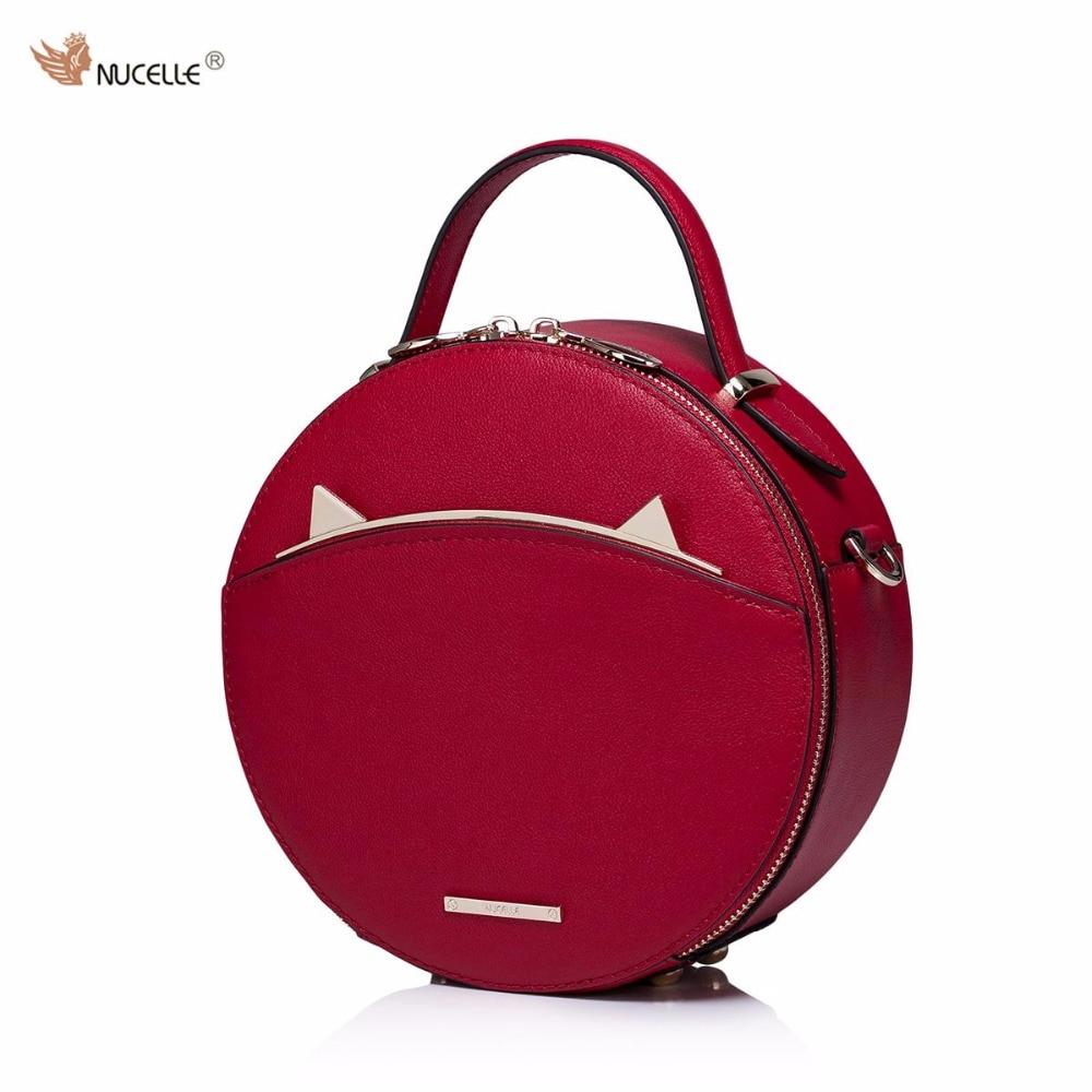 ФОТО NUCELLE Brand New Design Vintage Fashion Lady  Cow Leather Women Handbag Shoulder Crossbody Small Circular Bag