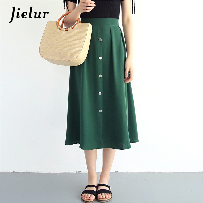 Jielur Button Korean Chiffon Skirts Vintage High Waist Slim A Line Skirt Elegant Summer Loose Solid Color Saia Midi Dropshipping