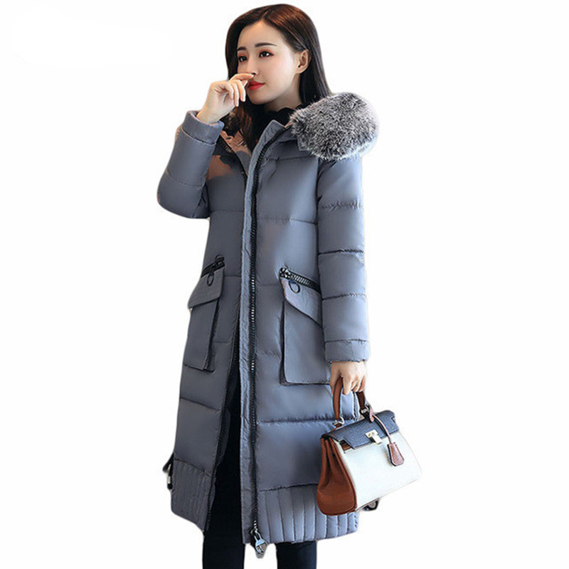 Winter Coat Women 2017 Big Pockets Long Winter Jacket Thick Outwear Women Maxi Coats Hooded Fur Collar Cotton Parka Jacket C3725 womens coats and jackets thick fur collar winter jacket women hooded cotton wadded jacket parka female outwear maxi coats c3708
