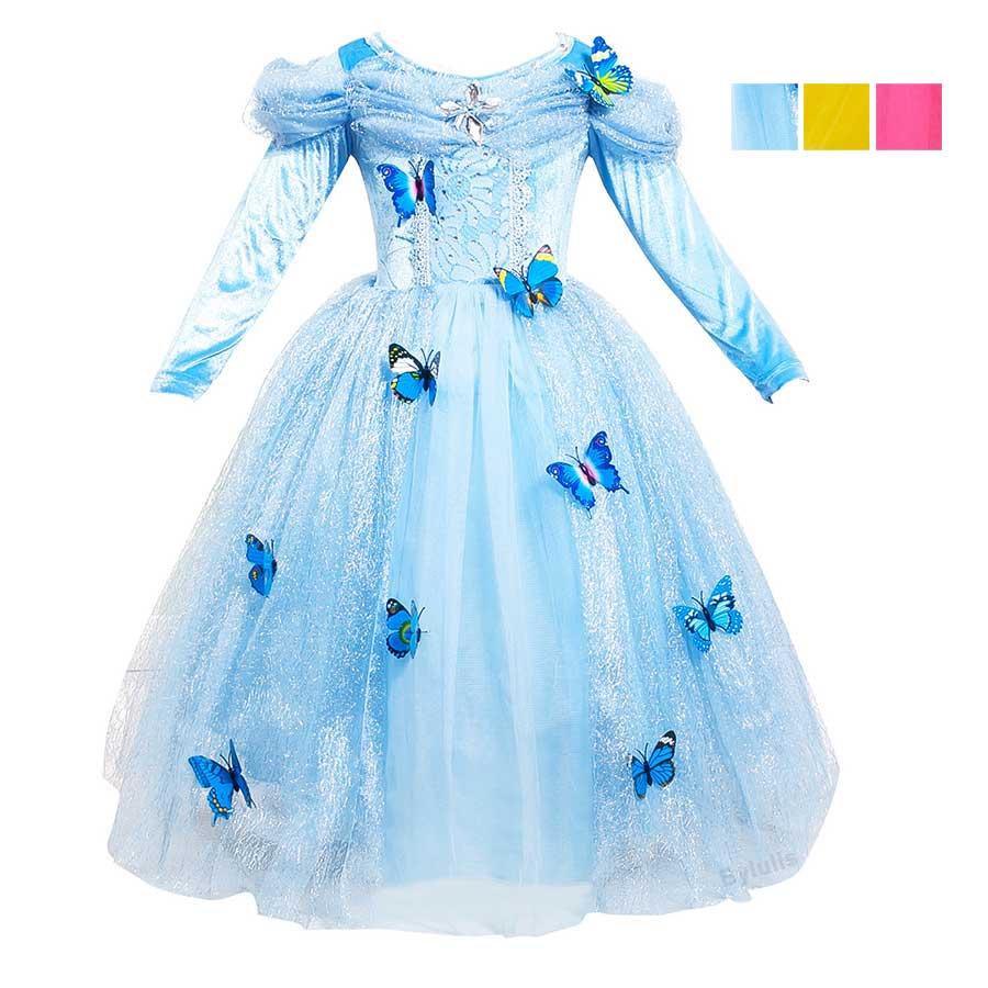 Princess Cinderella Dress Girls Long Sleeve Cinderella Costume Dresses Kids Long Blue Tutu Puff Party Dress Cosplay