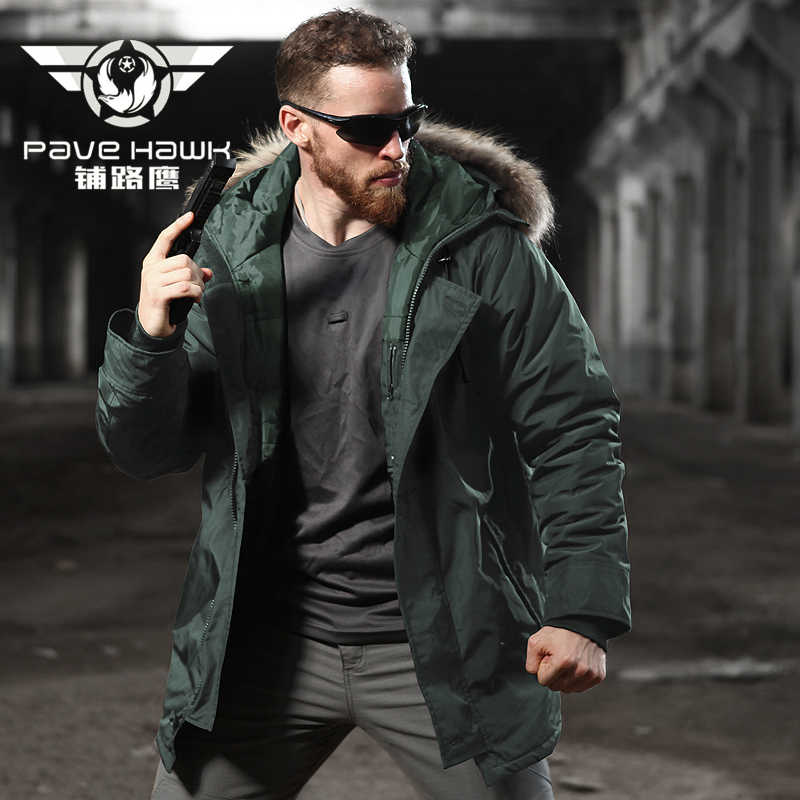 c3c1aebd0b8 Long Down Jacket For Men Winter Camping Hiking Outdoor Sport Windproof  Breathable Warm Coat Hooded Jacket Army Military Tactical