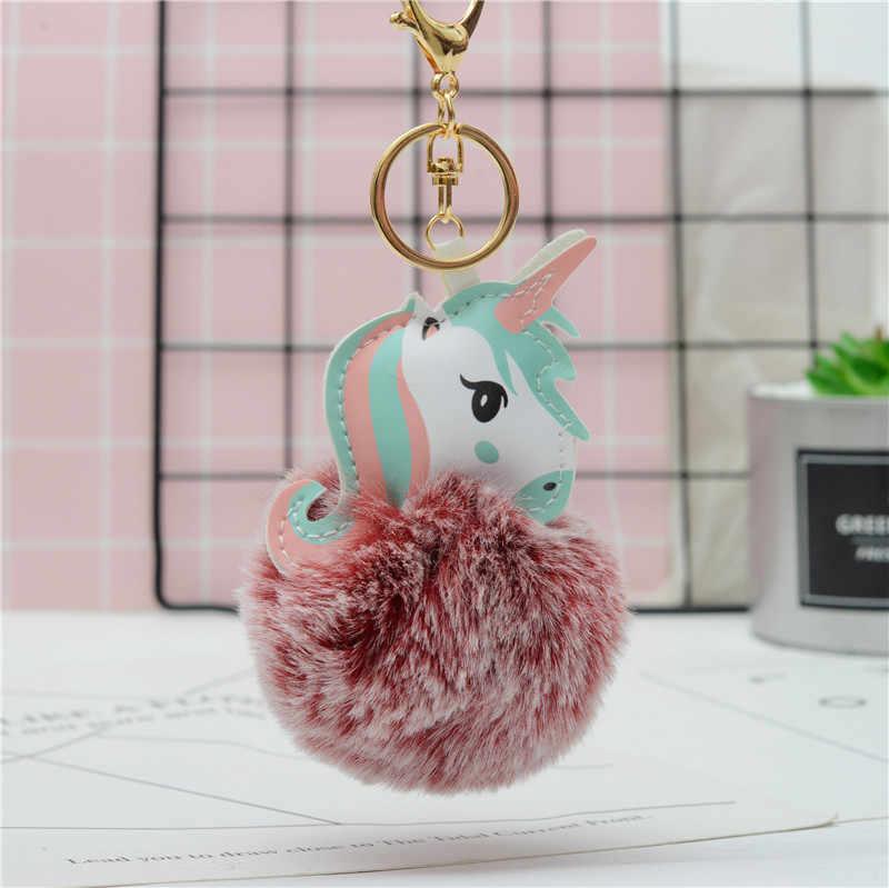 LLavero de unicornio mullido caliente colgante lindo pompón piel de conejo Artificial llavero bolsa de coche llavero colgante de joyería