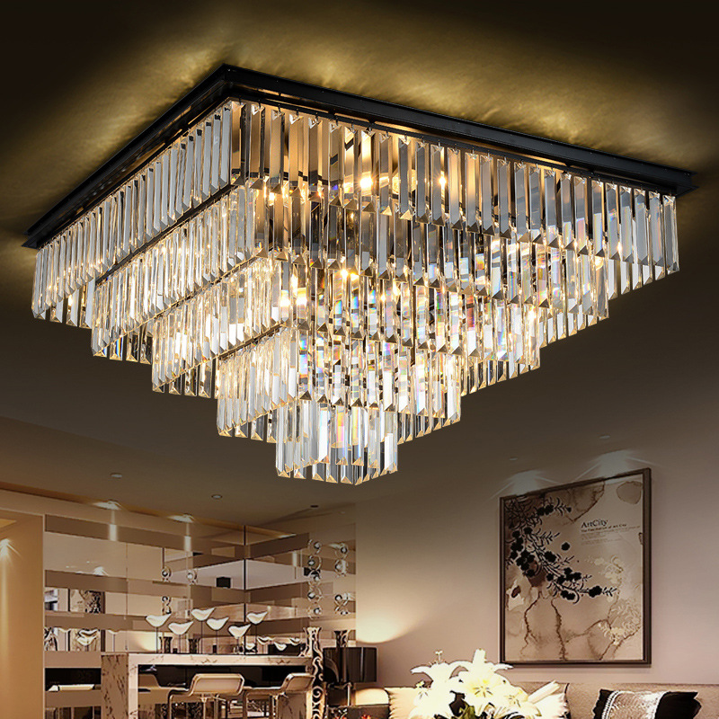 Modern Square Crystal Chandelier Light Fixture Clear