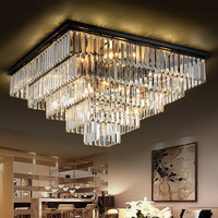 Modern Square Crystal Chandelier Light Fixture Clear Crystal Suspension Lamp Good K9 Crystal Drop Lamparas for Living room Hotel