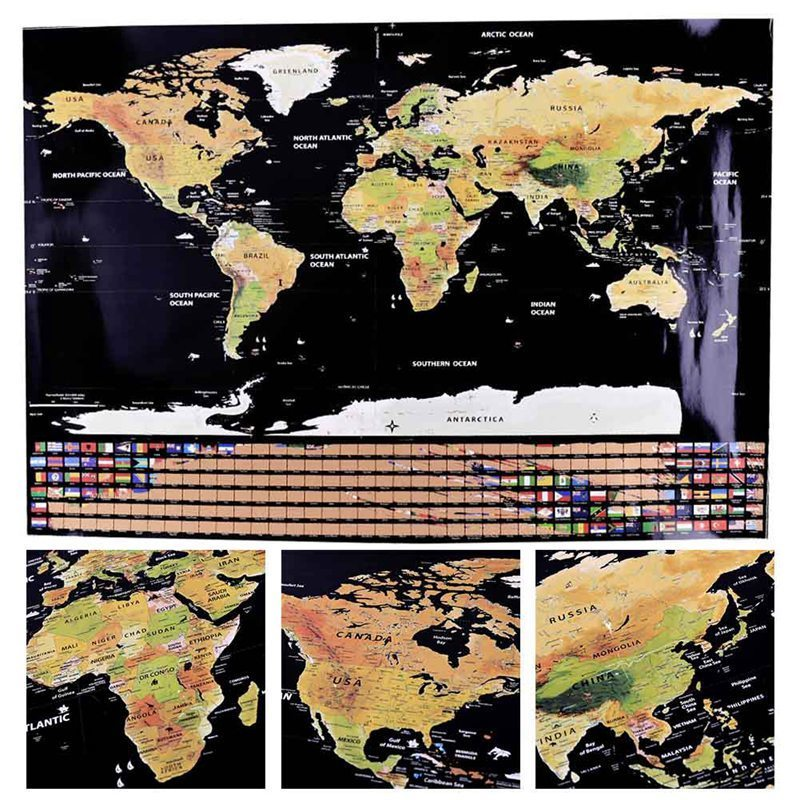 Colorful World Travel Scratch Off National Flag Map 82.5x59.5cm Cylinder Creative Ornament Home Decoration Wall Stickers Kid Toy