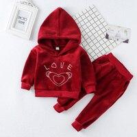 New Autumn Winter Baby Girls Clothing Sets Children Velvet Warm Clothes Set Kids Girls Letter Love