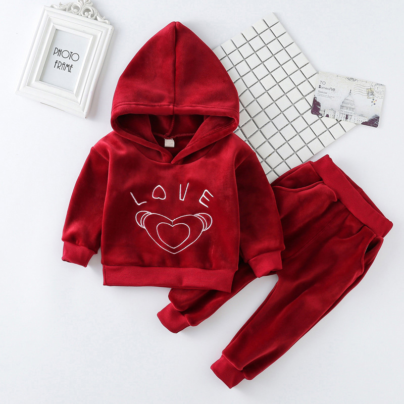 New Autumn Winter Baby Girls Clothing Sets Children Velvet Warm Clothes Set Kids Girls Letter Love Hooded Coats+ Pants Suits autumn winter boys girls clothes sets sports suits children warm clothing kids cartoon jacket pants long sleeved christmas suit