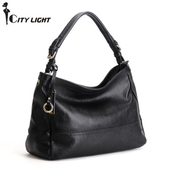 Luxury SOFT Genuine Leather Women HOBO Bag Leather Shoulder bag Work bussiness ladies Handbag Bucket Bag Chain Purse Elegant