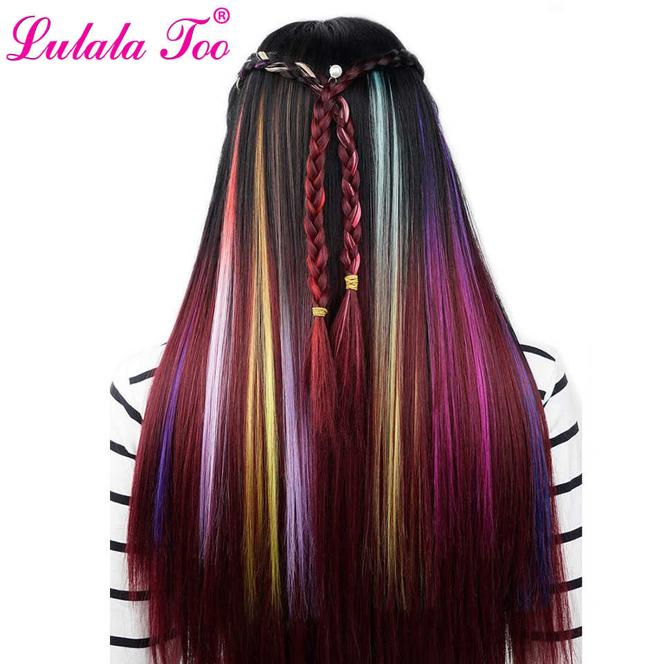 Long Straight Women Synthetic Clip in One Piece Hair Extensions 50cm 20inch Rainbow Colors Hairpiece Purple Pink Red Blue