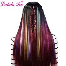Длинные прямые женские синтетические удлинители волос на клипсе