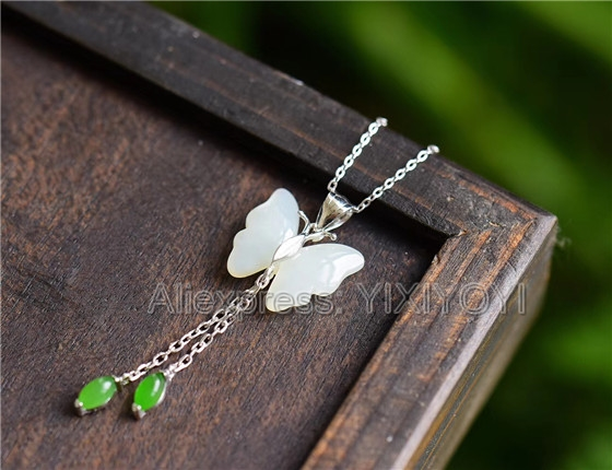 925 Sterling Silver White HeTian Jade Carved Butterfly Tassels Design Lucky Pendant + Chain Necklace Fine Jewelry Charm Gift925 Sterling Silver White HeTian Jade Carved Butterfly Tassels Design Lucky Pendant + Chain Necklace Fine Jewelry Charm Gift