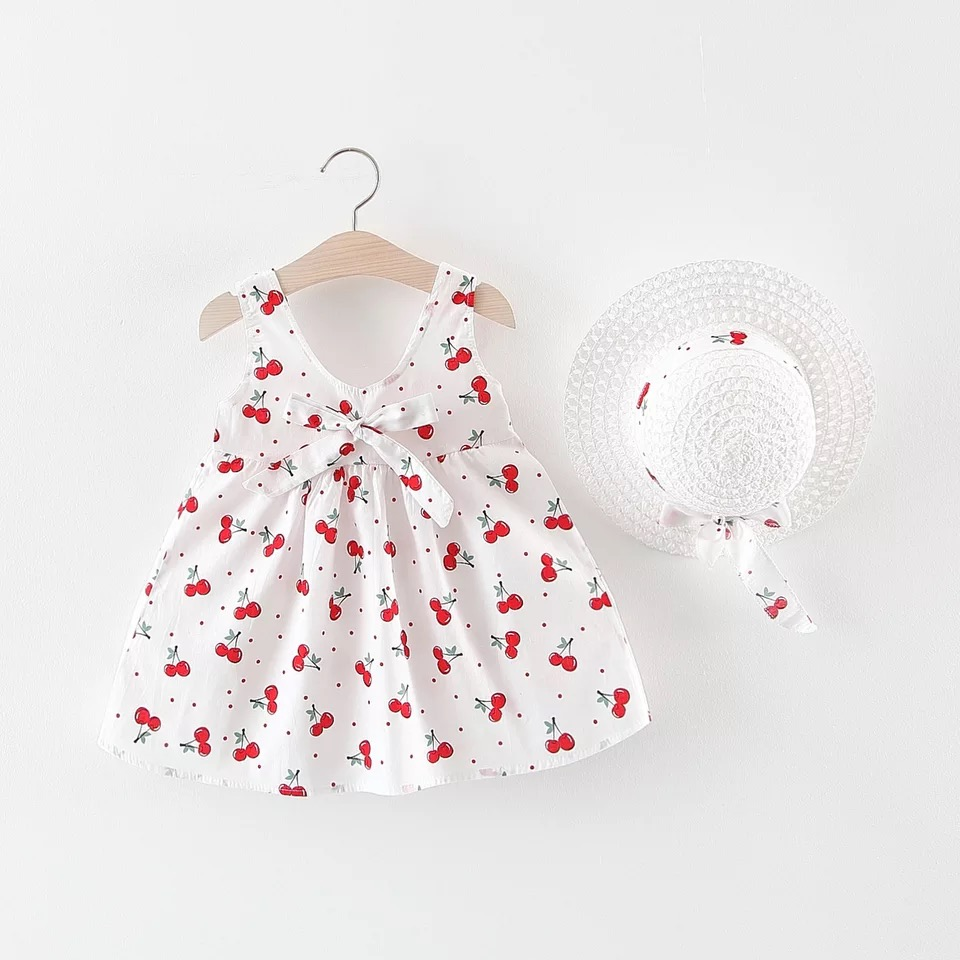 Baby Girls Clothes Summer Baby Dress With Bow Hat pcs Clothes Set Newborn Infant Toddler Dresses
