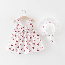 Summer Baby Dress With Bow Hat 2pcs Clothes Set