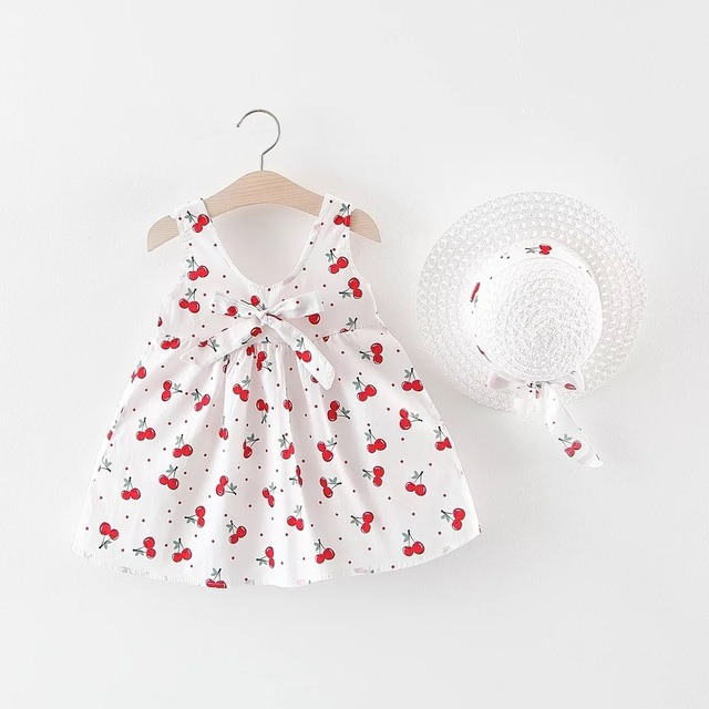 Baby Dress With Bow Hat (2pcs Set)