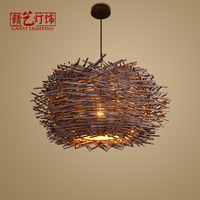 Pastoral style, rattan, bird's nest, chandelier, bird's nest lamp, farmhouse, inn, balcony, vintage rattan lamps