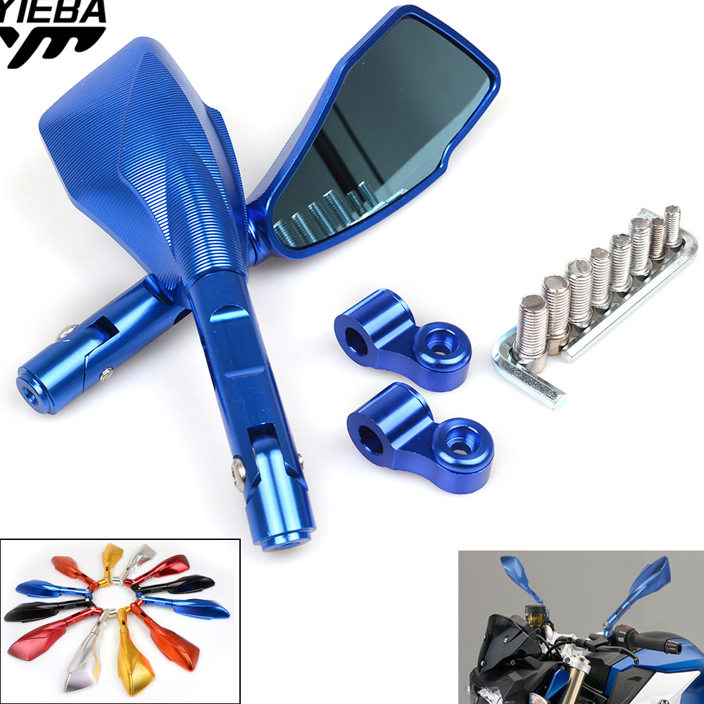 1pair CNC Motorcycle Blue Glass Rear View Side Mirror FOR YAMAHA YZF R1 R6 05-12 GSF1250 BANDIT 07-15 Z650 NINJA 300 250R 400R