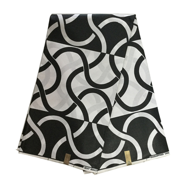 Black White Color Ankara Wax African Print Java 100 Cotton Veritable Block Real