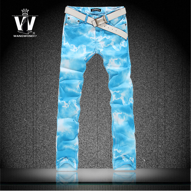 Summer style colored drawing jeans blue sky print thin elastic pants male flowers trousers mens skinny