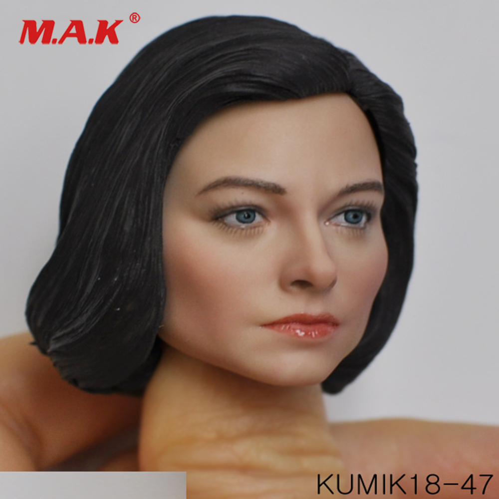 Collectible Figure Accessory KM18 47 America Europe Female Head Carved 1 6 PVC Girl Head Model