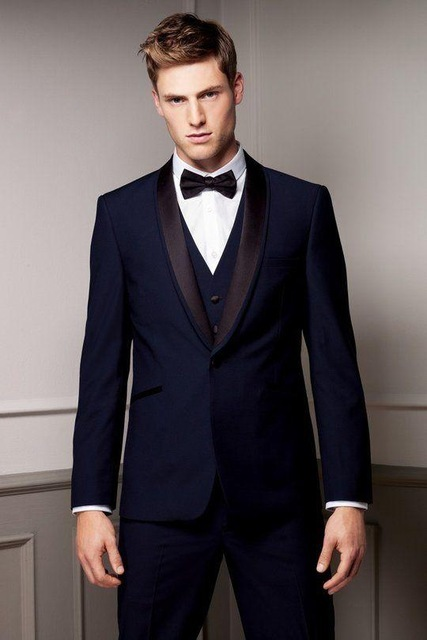Mens Wedding Suits Italian Suits with back vent Jacket+Pants+Tie+Vest mens Tuxedos Custom Made Groomsmen suits Navy Blue