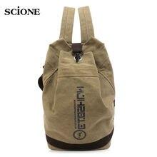 Drawsting Canvas Bucket Bags Backpack Outdoor Sports Rucksack Vintage Men Travel School Backpacks Bag Sac De