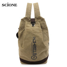 Drawsting Canvas Bucket Bags Backpack Outdoor Sports Rucksack Vintage Men Travel School Backpacks Bag Sac De Sport Bolsa XA115WA