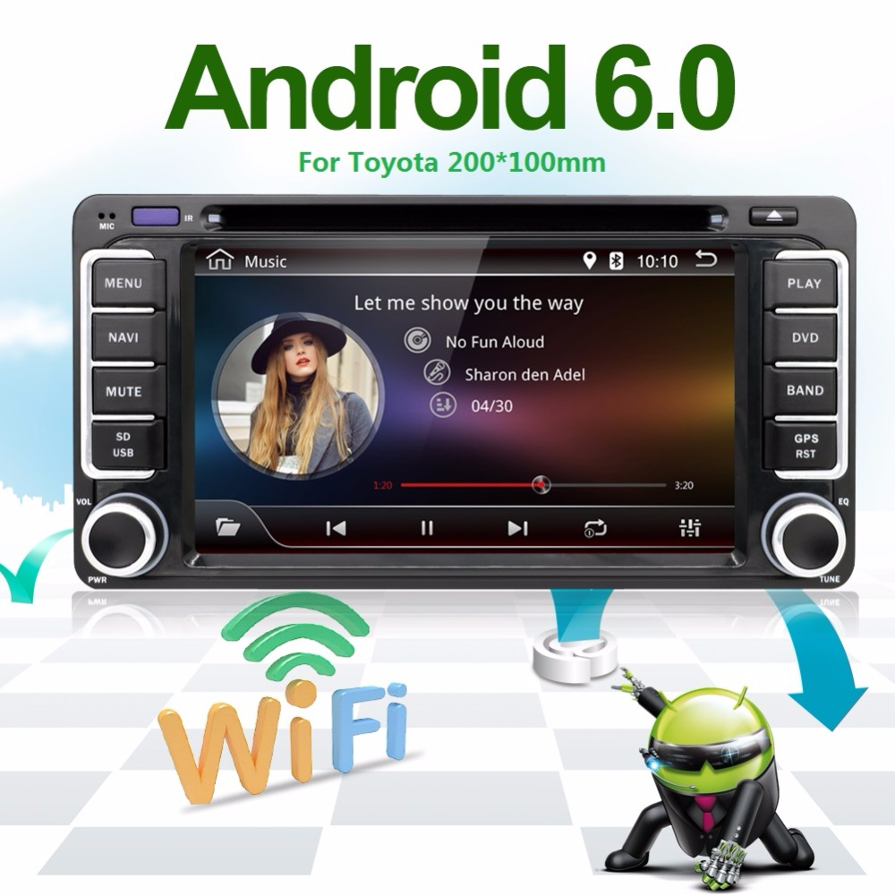 2G 2 din android car radio Android 6.0 car dvd player for Toyota Corolla rav4 camry Quad Core gps navigation with steering-wheel