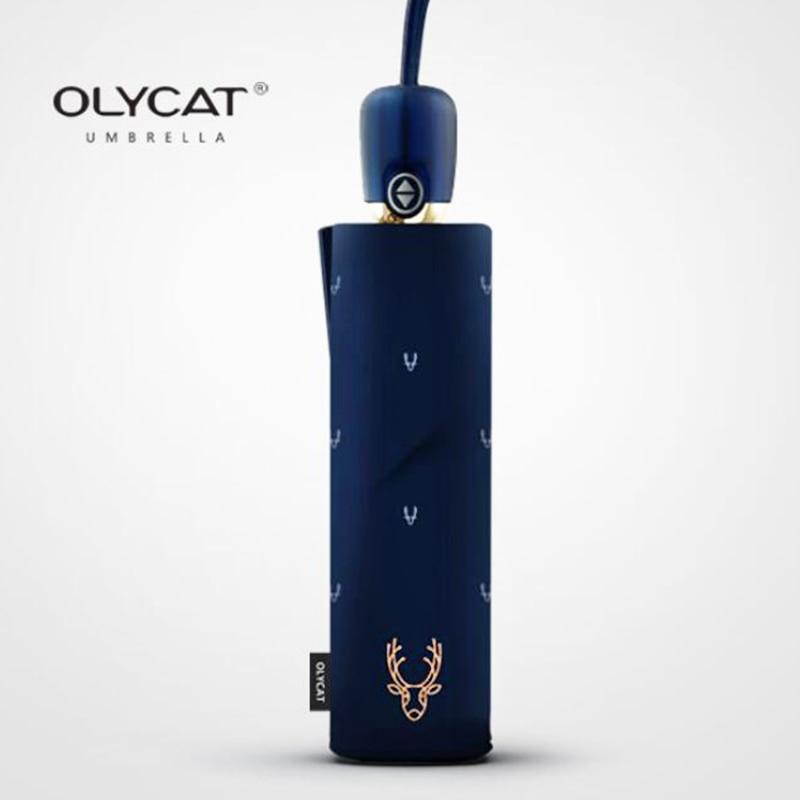 OLYCAT ร่มฝนผู้หญิงกองทัพเรือป้องกันแสงแดดอัตโนมัติร่มหญิงร่ม 3 พับลูกไม้ร่ม W Indproof 8 พัน P Arapluie