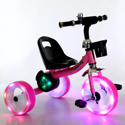 Niños cochecito de bebé triciclo pedal de la bicicleta luces brillante bicicleta juguetes para los niños 2-3-4-5 años de edad del bebé