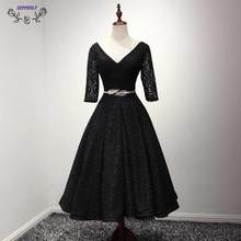 Promotion Black Short font b Cocktail b font font b Dresses b font 2017 simple lace