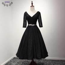 Promoción Negro Vestidos de Coctel Cortos 2017 de encaje simple V cuello Una línea Lace up Prom vestidos de Partido de Las Mujeres Vestido De Traje De Soirée Curto