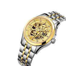 SKELETON JAPAN AUTOMATIC MOVT GOLD WATCHFACE RELOGIO MASCULINO STEEL WATCHBAND SAPHIRE GLASS BUSINESS WATERPROOF MAN CLOCK WATCH