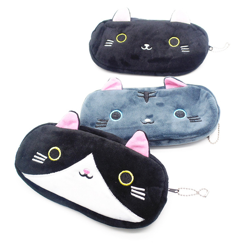 Cute Cat Pencil Cases For Girls Kawaii Plush Pen Bag Black Cat Pencil Pouch Escolar Office School Supplies