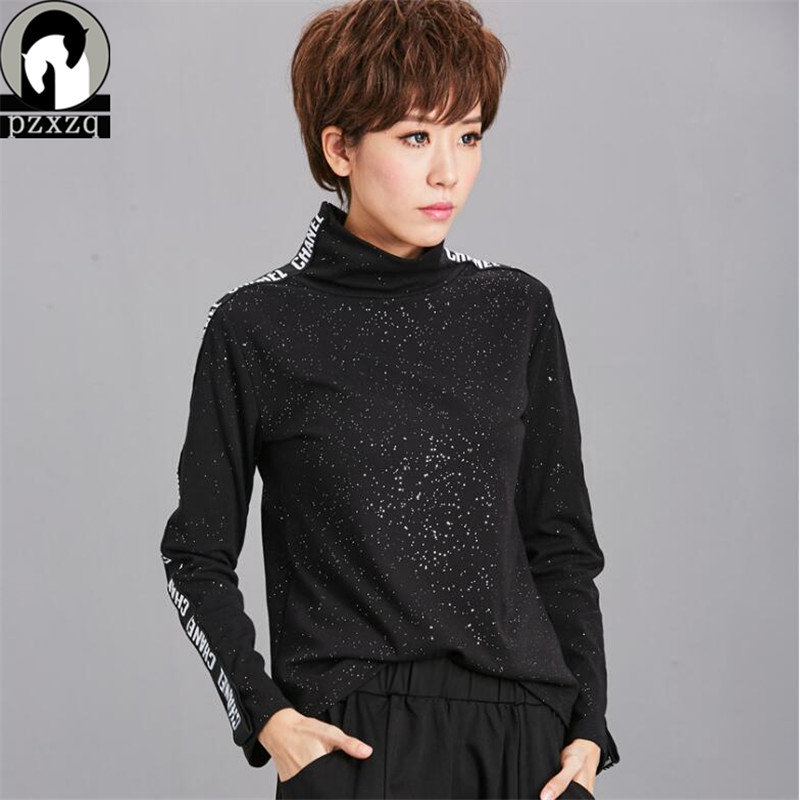 2018 Womens Glitter Elvet 90% Cotton T-shirts Tops & Tees New Women Long-sleeve Turtleneck Black Letter Print Female Sexy Basic