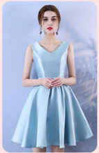 Blue V Neck Women Wedding Party Dress  Above Knee Mini Dress  Satin Bridesmaid Dress Back of Bandage mini dress bridesmaid dress wedding guest sexy dress sleeveless above knee back of bandage blue colour