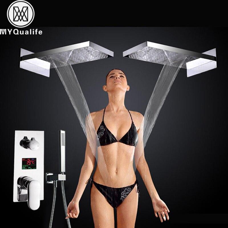 Роскошный Большой водопад, смеситель для дождя, 3 функции, цифровой дисплей, настенный смеситель для ванной, смеситель для душа, температурн
