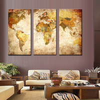 3 panels / set Vintage Oil Painting Frameless Canvas Hand Painted Wall Art Picture Classic Canvas Modern murals Home Decoration
