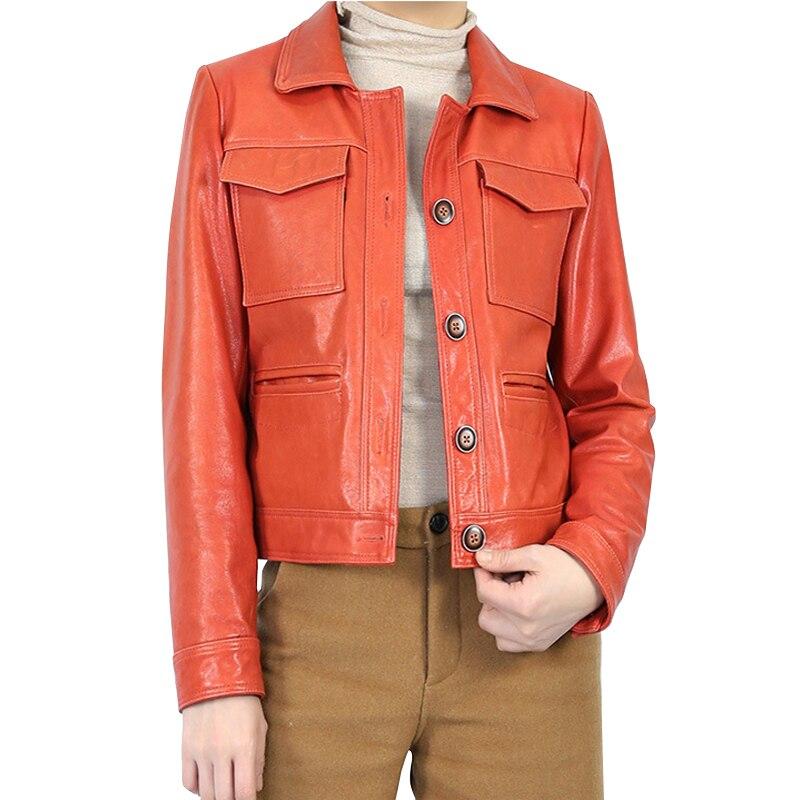 Orange Real Sheepskin Genuine Leather Jackets Short Coat Womens Female Ladies Motorcycle Overcoat Bomber Jacket Coats Outerwear|Leather Jackets| |  - title=