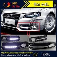 Free shipping ! 12V 6000k LED DRL Daytime running light for Audi A4L 2009 2012 fog lamp frame Fog light Car styling