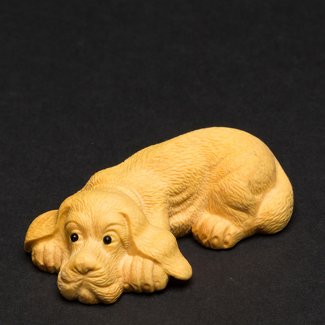Boxwood wood puppy dog Carving solid wood living room ornaments carving crafts Zodiac cute animals Traditional Craft