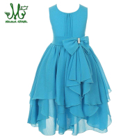 Princess Girl O Neck Sleeveless Sequined Floral Ball Gown Party Dresses One Piece Daily Dress For