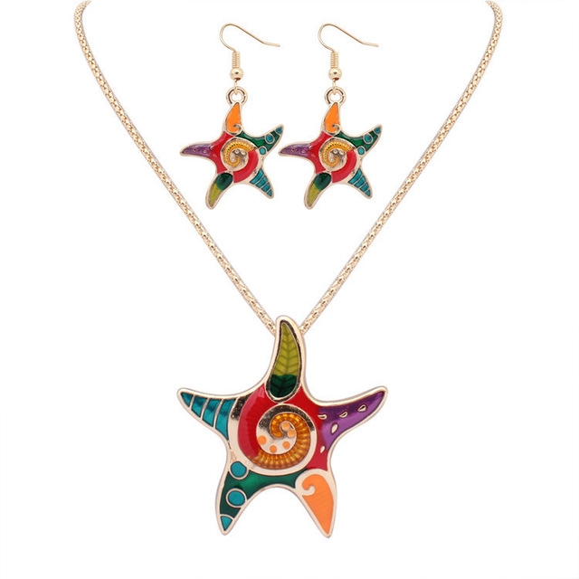 2017 colorful seafish necklace earring set classic natural animal